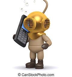 conversations, cellphone, mer profonde, plongeur, 3d