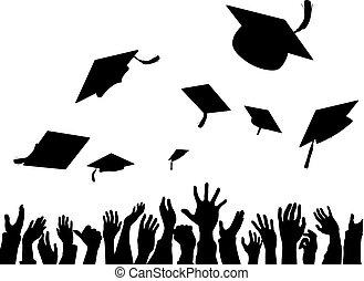 convocation, célébration, silhouette, remise diplômes plafonne