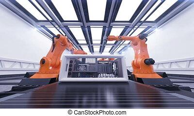 convoyeur, montage, business, beau, technologie, animation., 3d, hd, 1920x1080., automatisé, belt., cas, robotique, informatique, entiers, process., concept., avancé, bras, industriel, futuriste