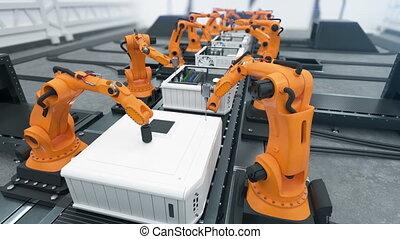 convoyeur, uhd, montage, ordinateurs gestion, animation., process., bras, robotique, fait boucle, 4k, ceinture, automatisé, close-up., technologie avancée, concept., 3840x2160., 3d