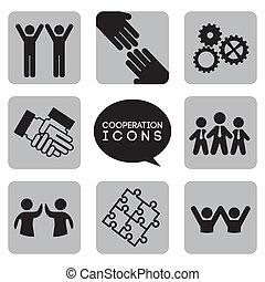coopération, icônes, monochromatique