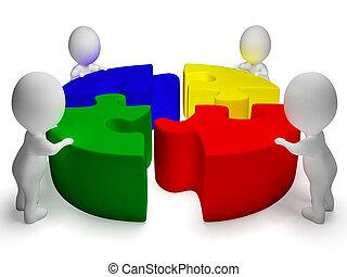 coopération, puzzle, résolu, unité, caractères, spectacles, 3d