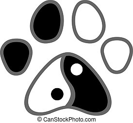 copie patte, yang, chat, yin, logo, chien, conception, ou