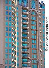 copropriété, moderne, balcons, tour, luxe