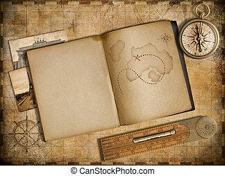copybook, vendange, voyage, carte, aventure, compas, concept.