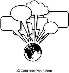 copyspace, blogs, pourparlers, parole, tweets, la terre, est, bulle