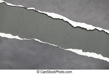 copyspace, déchiré, gris, papier, message, ton