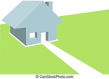 copyspace, résidentiel, illustration, maison, maison, 3d