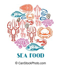 coquillage, fond, crustacés, divers, illustration, fish, seafood.