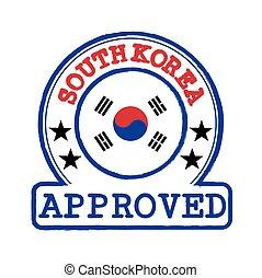 corée, center., approuvé, forme, timbre, rond, vecteur, drapeau, logo, sud