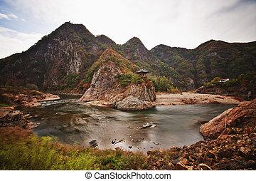corée sud, paysage, wolryubong, automne, beau