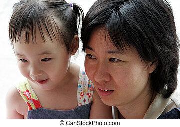 coréen, elle, girl, maman