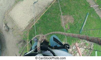 corde, équipement, girl, sécurité, parc