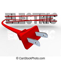 corde, emballé, -, pouvoir électrique