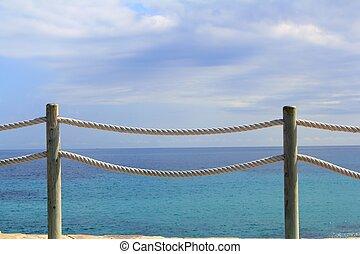 corde, marin, bois, rampe, balustrade
