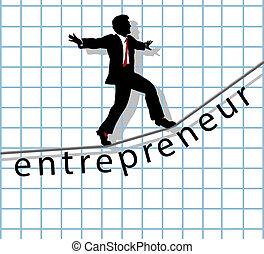 corde raide, démarrage, reussite, entrepreneur