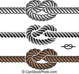 corde, symboles, vecteur, noir, noeud