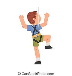 cordes, caractère, rigolote, garçon, amusement, aventure, parc, grimpeur, gosse, escalade, illustration, vecteur, rocher, sourire, mur, ou, style, dessin animé, avoir, sports
