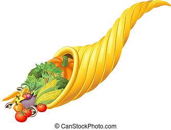 corne abondance, festival, thanksgiving, corne, récolte, ou