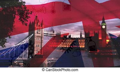coronavirus, anglaise, concept, contre, cityscape, onduler, icônes, sur, drapeau