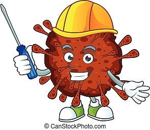 coronavirus, automobile, caractère, dessin animé, frais, infection