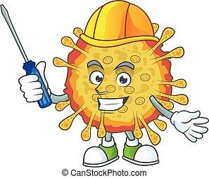 coronavirus, automobile, caractère, dessin animé, outbreaks, frais