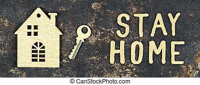 coronavirus, bannière, bureau maison, quarantaine, épidémie, concept, lockdown, toile, séjour, maison