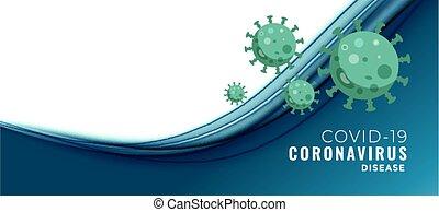 coronavirus, bannière, texte, concept, espace, covid-19