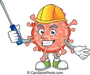 coronavirus, caractère, frais, dessin animé, bulbul, automobile