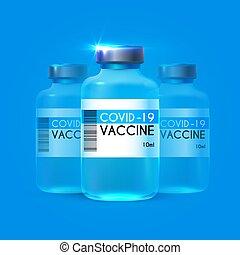 coronavirus, concept., infectieux, vaccine., 2019, lande, vecteur, arrêt, ncov, médecine, conception, soin, covid-19