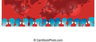 coronavirus, covid-19., infection., protéger, monde médical, gens, contre, vaccination., foule, contamination., groupe, épidémie, antivirus, masks., eux-mêmes, porter, virus, pandémie