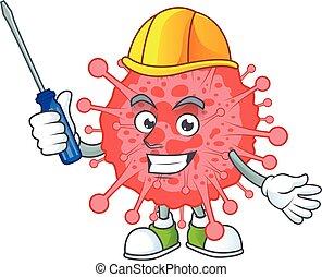 coronavirus, dessin animé, automobile, frais, caractère, désastre