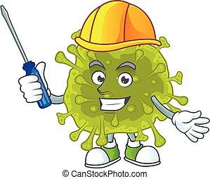 coronavirus, dessin animé, automobile, frais, caractère, diffusion