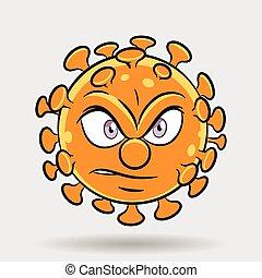 coronavirus, dessin animé, fâché, orange