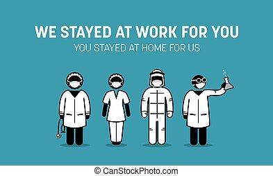 coronavirus, frontliners, baston, monde médical, personnels, outbreak., ouvriers, contre, maison, exhorter, docteur, maladie, public, séjour, infirmière, virus, covid-19