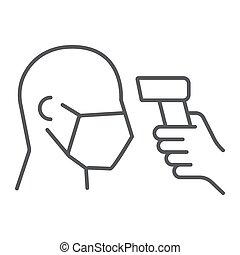 coronavirus, graphiques, corps, mince, blanc, 19, vérification, modèle, vecteur, température, linéaire, scaning, fond, ligne, signe, eps, 10., icône, covid