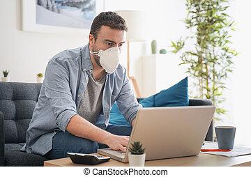 coronavirus, maison, teleworking, homme, après, pandémie