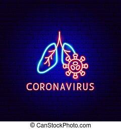 coronavirus, néon, étiquette