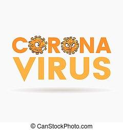 coronavirus, orange, lettres, têtes, supérieur, dessin animé, cas