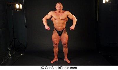 corps, alors, sien, autour de, culturiste, musculaire, virage, derrière, studio, spectacles