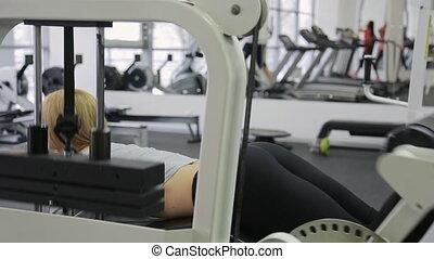 corps, athlète, veaux, gym., musculaire, tendre, leur, fesses, muscles, blond, exercice, femmes