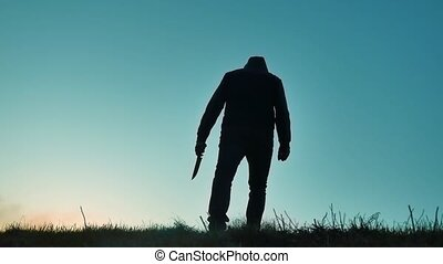 corps, bandit, sien, silhouette, exposition, dangereux, main., tueur, côté, veste, style de vie, couteau, barbouillage, malfrat, knife., ombre, revêtement, horreur, capuchon, homme