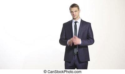 corps, business, flèche, language., isolé, arrière-plan., homme, complet, position, blanc, main, confidence., geste, excellence.