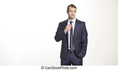 corps, business, language., isolé, arrière-plan., traction, complet, collar., peur, homme, blanc, geste, exposition