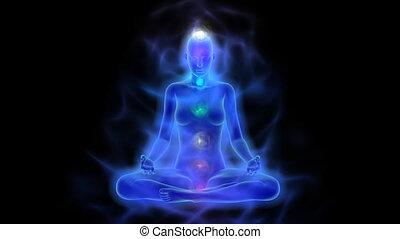 corps, chakras, aura, humain, méditation, énergie