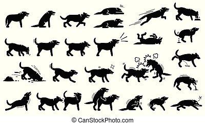 corps, chien, langues, attitudes, cliparts., réactions, actions