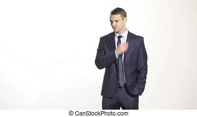 corps, ear., business, arrière-plan., frottement, language., isolé, grattement, méfiance, orateur, complet, blanc, geste, homme