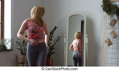 corps, femme, elle, positif, admirer, forme, miroir