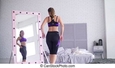 corps, femme, sportif, elle, admirer, forme, miroir