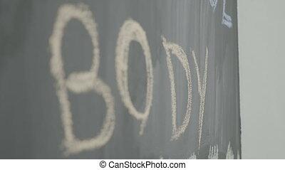 corps, fort, tableau noir, gymnase, motivation, puissant, craie, écrit, mots, sport
